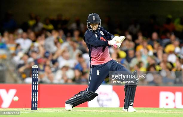 Joe Root of England plays a shot during game two of the One Day International series between Australia and England at The Gabba on January 19 2018 in...