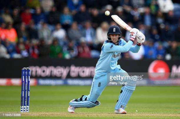 Joe Root of England plays a shot during the Group Stage match of the ICC Cricket World Cup 2019 between England and Bangladesh at Cardiff Wales...