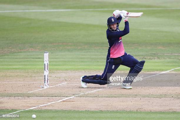 Joe Root of England plays the ball away for four runs during game one in the One Day International series between New Zealand and England at Seddon...