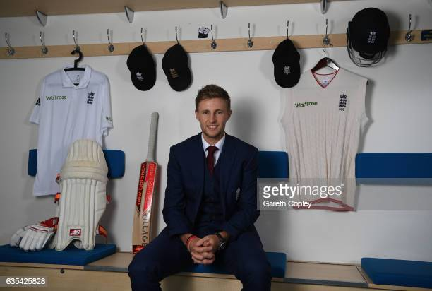 Joe Root of England poses for a portrait during a Joe Root Press Conference at Headingley on February 15 2017 in Leeds England