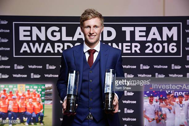 Joe Root of England poses with the England' Test Cricketer of the Year and Limited Overs Cricketer of the Year awards during the England Cricketer of...