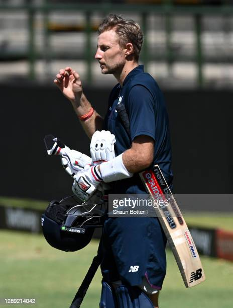Joe Root of England prepares to bat during a Net Session at Newlands Cricket Ground on December 03, 2020 in Cape Town, South Africa.