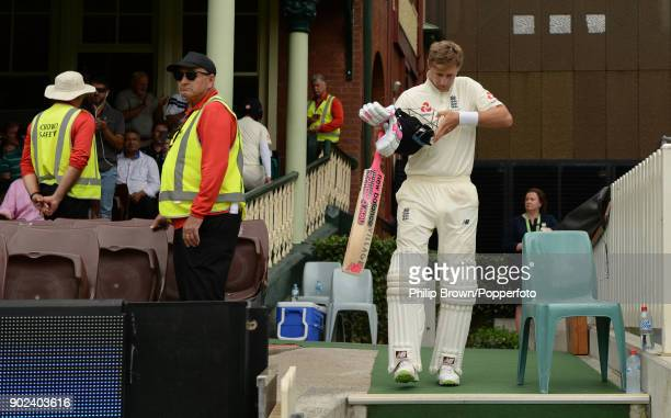 Joe Root of England prepares to take the field during the fifth day of the fifth Ashes cricket test match between Australia and England at the Sydney...