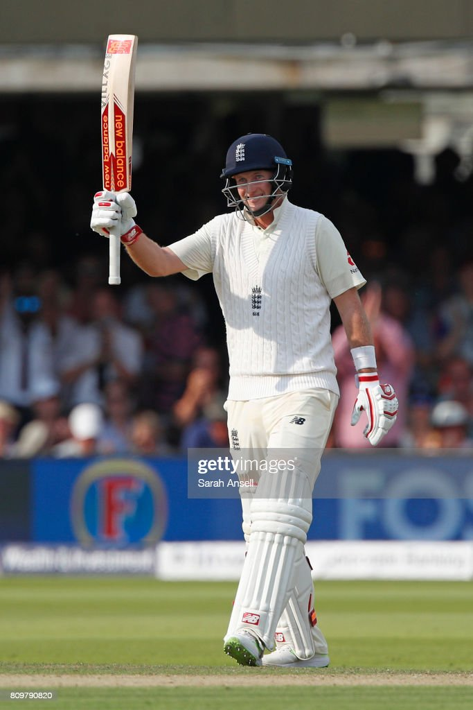 Joe Root of England raises his bat after reaching 150 during the 1st Investec Test match between England and South Africa at Lord's Cricket Ground on July 6, 2017 in London, England. (Photo by Sarah Ansell/Getty Images).