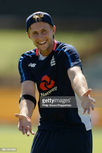 Joe Root of England reacts during a training session before the third Ashes cricket test match between Australia and England at the WACA on December...