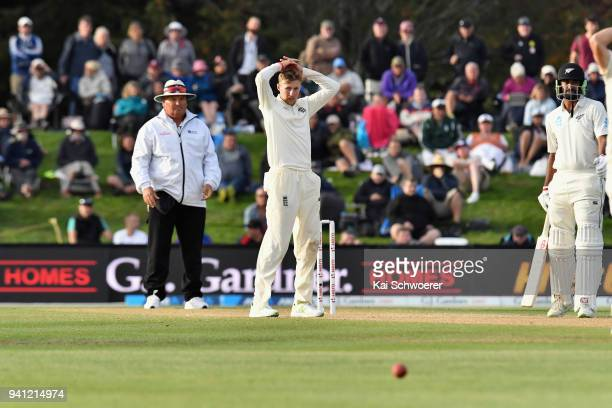 Joe Root of England reacts during day five of the Second Test match between New Zealand and England at Hagley Oval on April 3, 2018 in Christchurch,...