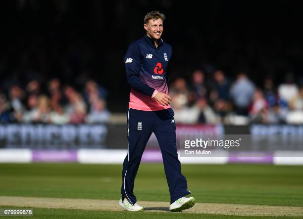 Joe Root of England reacts during the Royal London One Day International between England and Ireland at Lord's Cricket Ground on May 7 2017 in London...