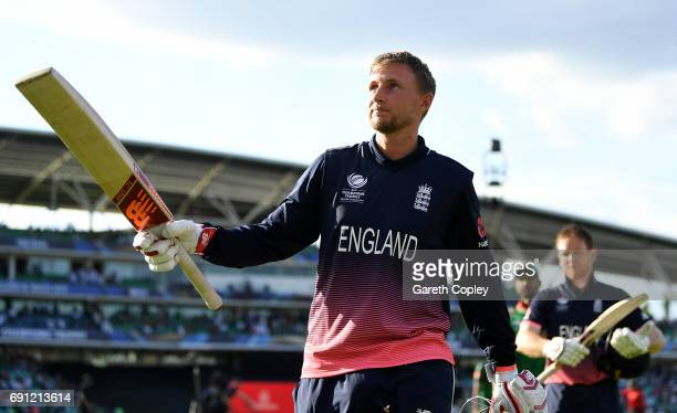 Joe Root of England salutes the crowd as he leaves the field after hitting the winning runs to win the ICC Champions Trophy group match between...