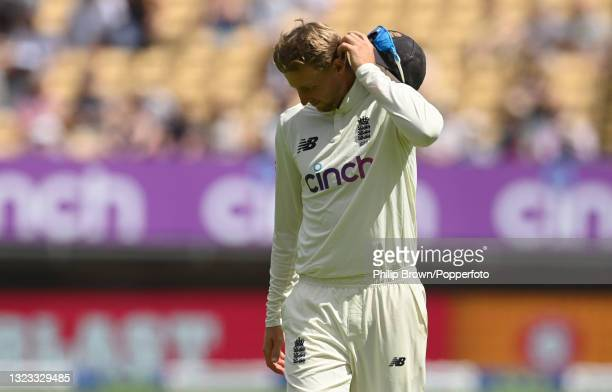 Joe Root of England scratches his head during the second LV= Test match against New Zealand at Edgbaston on June 13, 2021 in Birmingham, England.