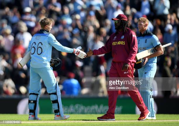 Joe Root of England shakes hands with Chris Gayle of West Indies during the Group Stage match of the ICC Cricket World Cup 2019 between England and...