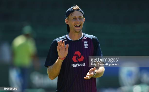 Joe Root of England smiles during a training session at St George's Park before the third Test Match between England and South Africa on January 14,...