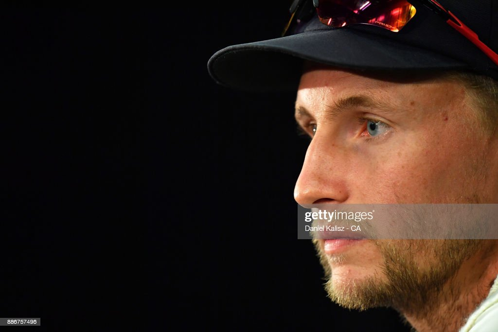 Joe Root of England speaks to the media during a post match press conference during day five of the Second Test match during the 2017/18 Ashes Series between Australia and England at Adelaide Oval on December 6, 2017 in Adelaide, Australia.