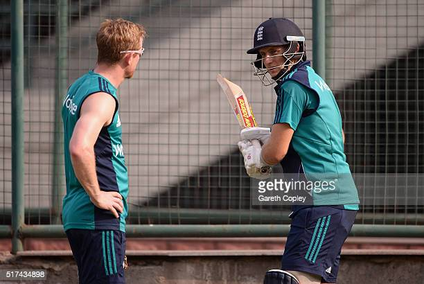 Joe Root of England speaks with coach Paul Collingwood during a net session at Feroz Shah Kotla Ground on March 25 2016 in Delhi India