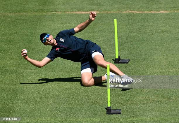 Joe Root of England takes a catch during a Net Session at Newlands Cricket Ground on December 03, 2020 in Cape Town, South Africa.