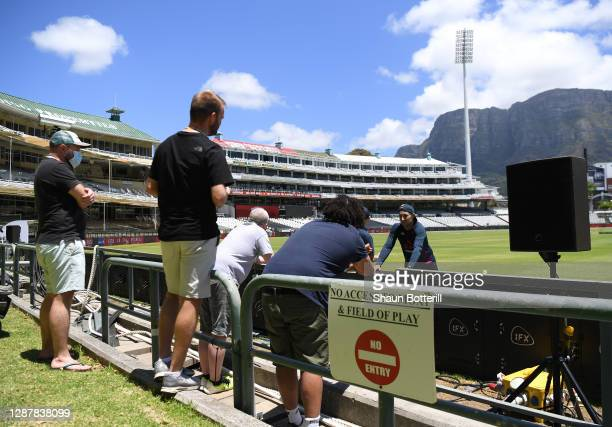 Joe Root of England talks to the media during a Nets Session at Newlands Cricket Stadium on November 26, 2020 in Cape Town, South Africa.