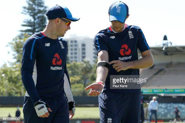 Joe Root of England talks with Mason Crane during an England nets session ahead of the Third Test of the 2017/18 Ashes Series at the WACA on December...