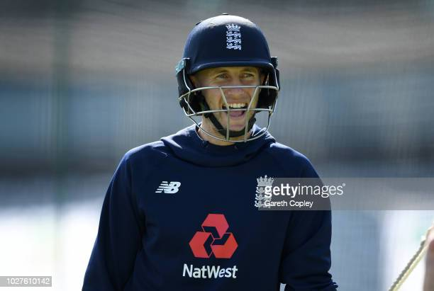 Joe Root of England waits to bat during a nets session at The Kia Oval on September 6 2018 in London England
