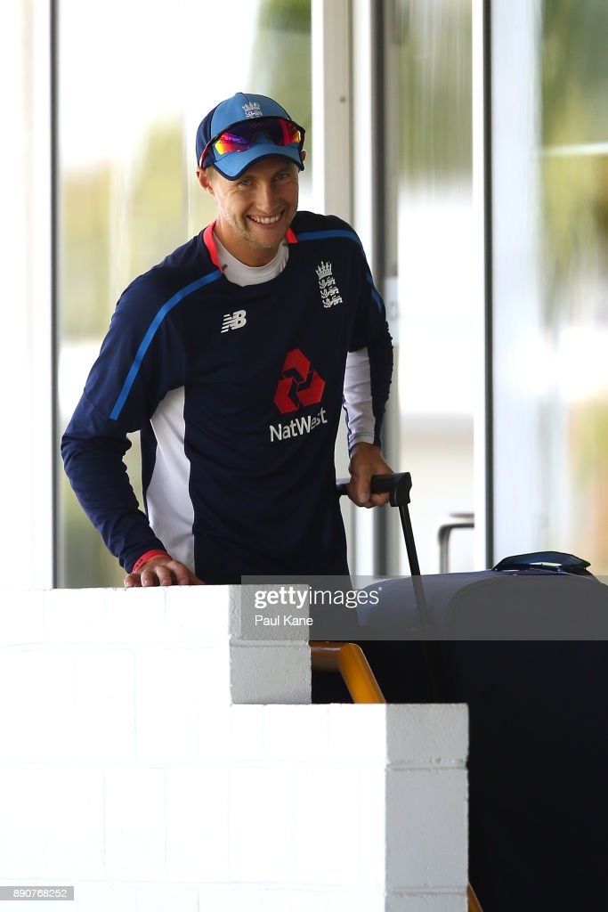 Joe Root of England walks from the players rooms to the field of play during an England nets session ahead of the Third Test in the 2017/18 Ashes series at WACA on December 12, 2017 in Perth, Australia.