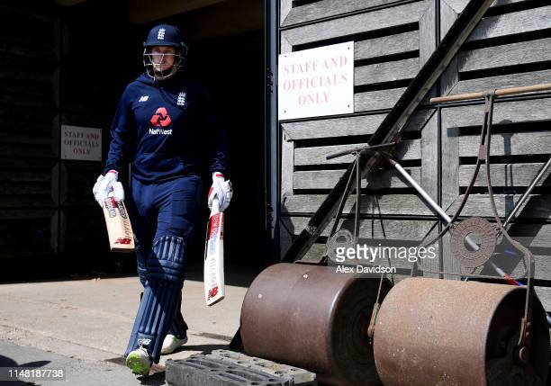 Joe Root of England walks out the groundsman's shed during a net session at The Ageas Bowl on May 10, 2019 in Southampton, England.