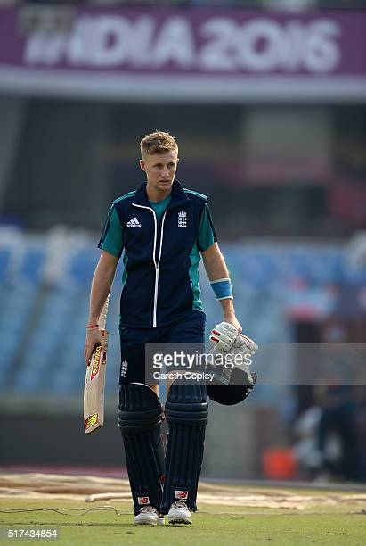 Joe Root of England walks to the nets during a net session at Feroz Shah Kotla Ground on March 25 2016 in Delhi India