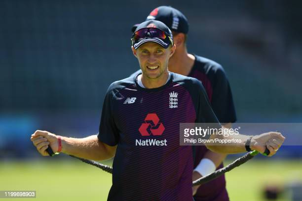 Joe Root of England warms up during a training session at St George's Park before the third Test Match between England and South Africa on January...