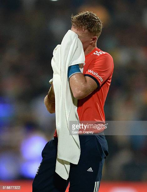 Joe Root of England wipes his face during the ICC World Twenty20 India 2016 Final between England and the West Indies at Eden Gardens on April 3 2016...