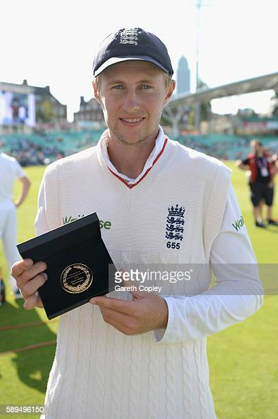 Joe Root of England with the Padmore medal after the 4th Investec Test between England and Pakistan at The Kia Oval on August 14 2016 in London...