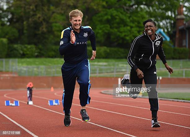 Joe Root of Yorkshire and athlete Perri ShakesDrayton of Great Britain run during the NatWest T20 Blast Media Launch at Loughborough University on...