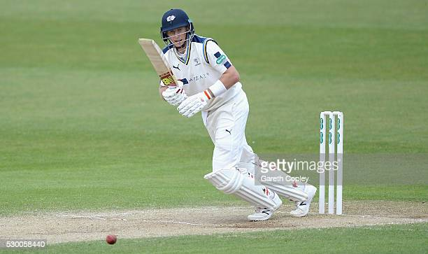 Joe Root of Yorkshire bats during day three of the Specsavers County Championship Division One match between Yorkshire and Surrey on May 10 2016 in...