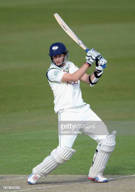 Joe Root of Yorkshire bats during day two of the LV County Championship Division One match between Yorkshire and Derbyshire at Headingley on April 30...