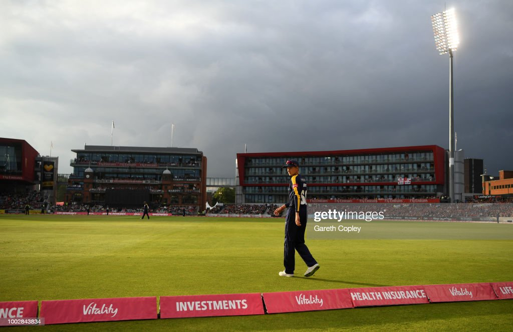 Joe Root of Yorkshire fields on the boundary during the Vitality Blast match between Lancashire Lighting and Yorkshire Vikings at Old Trafford on July 20, 2018 in Manchester, England.