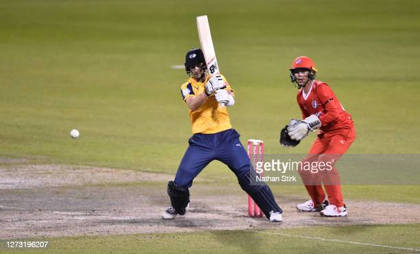 Joe Root of Yorkshire Vikings bats during the T20 Vitality Blast 2020 match between Lancashire Lightning and Yorkshire Vikings at Emirates Old...
