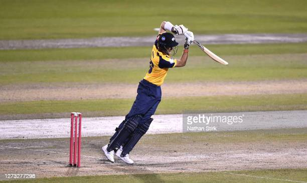 Joe Root of Yorkshire Vikings drives the ball while batting during the T20 Vitality Blast 2020 match between Lancashire Lightning and Yorkshire...