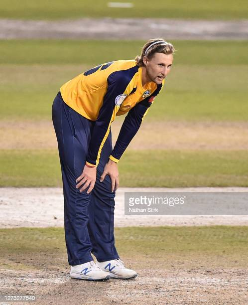 Joe Root of Yorkshire Vikings looks on during the T20 Vitality Blast 2020 match between Lancashire Lightning and Yorkshire Vikings at Emirates Old...