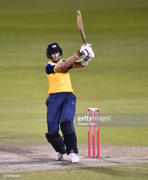 Joe Root of Yorkshire Vikings plays the pull shot while batting during the T20 Vitality Blast 2020 match between Lancashire Lightning and Yorkshire...