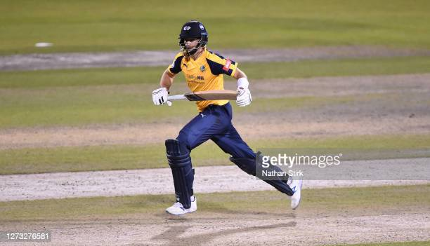 Joe Root of Yorkshire Vikings runs between the wickets during the T20 Vitality Blast 2020 match between Lancashire Lightning and Yorkshire Vikings at...