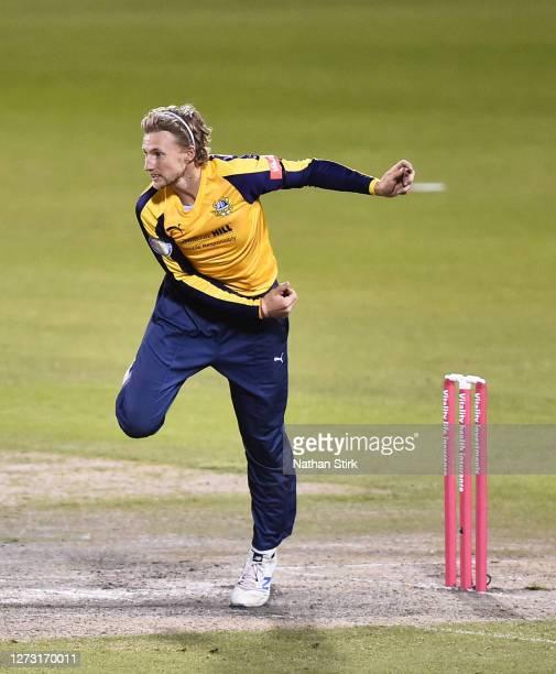 Joe Root of Yorkshire Vikings runs into bowl during the T20 Vitality Blast 2020 match between Lancashire Lightning and Yorkshire Vikings at Emirates...