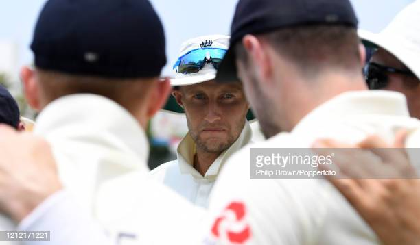 Joe Root, the England captain talks in a huddle during the second day of the match between a Sri Lanka Board President's XI and England at P Sara...