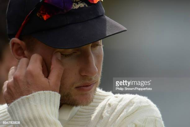 Joe Root the England captain waits to be interviewed after Australia regained the Ashes after the third Ashes cricket test match between Australia...