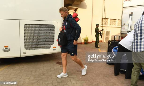 Joe Root, the England captain walks on to the bus after the Test series against Sri Lanka was postponed at P Sara Oval on March 13, 2020 in Colombo,...