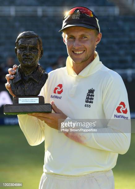 Joe Root, the England captain with the series trophy after England won the Fourth Test at the Wanderers between England and South Africa on January...