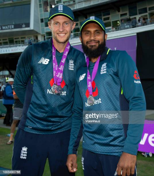 Joe Root winner of the man of the series and Adil Rashid man of the match winner after the 3rd Royal London ODI match between England and India at...
