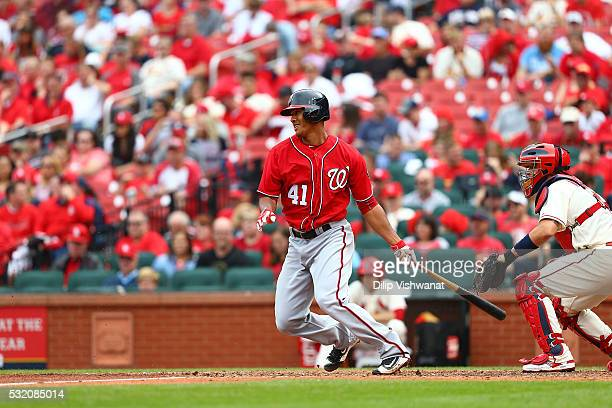 Joe Ross of the Washington Nationals bats against the St Louis Cardinals at Busch Stadium on April 30 2016 in St Louis Missouri