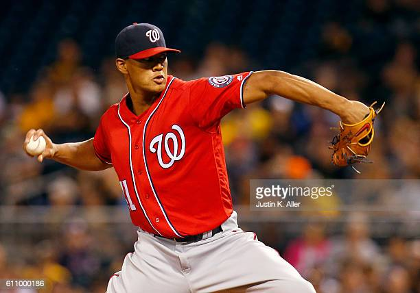 Joe Ross of the Washington Nationals in action during the game against the Pittsburgh Pirates at PNC Park on September 24 2016 in Pittsburgh...