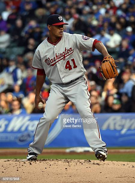 Joe Ross of the Washington Nationals pitches against the Chicago Cubs during the first inning on May 5 2016 at Wrigley Field in Chicago Illinois