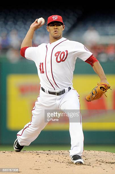 Joe Ross of the Washington Nationals pitches against the Detroit Tigers at Nationals Park on May 10 2016 in Washington DC