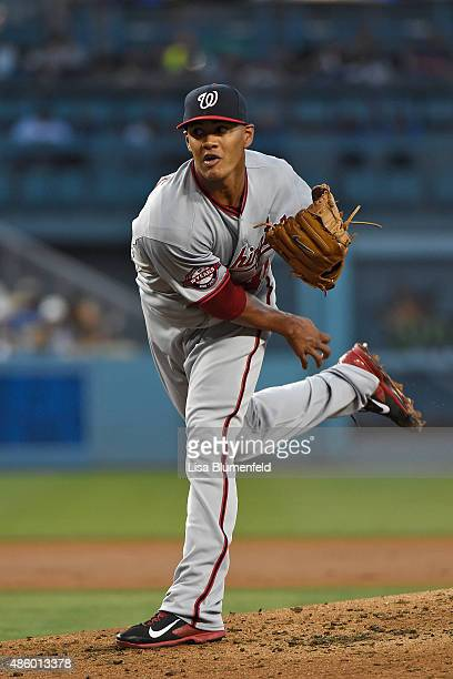 Joe Ross of the Washington Nationals pitches against the Los Angeles Dodgers at Dodger Stadium on August 11 2015 in Los Angeles California