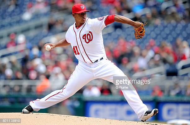 Joe Ross of the Washington Nationals pitches against the Miami Marlins at Nationals Park on April 10 2016 in Washington DC