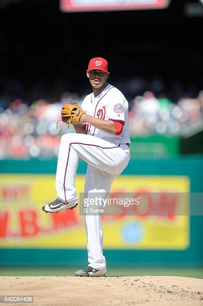 Joe Ross of the Washington Nationals pitches against the Philadelphia Phillies at Nationals Park on June 12 2016 in Washington DC