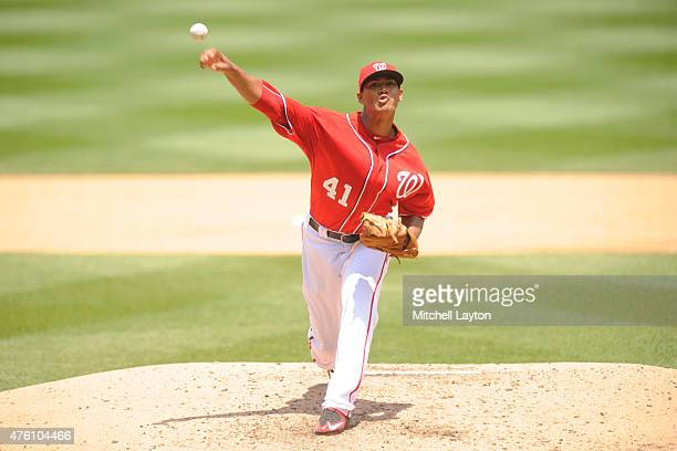 Joe Ross of the Washington Nationals pitches during a baseball game against the Chicago Cubs at Nationals Park on June 6 2015 in Washington DC